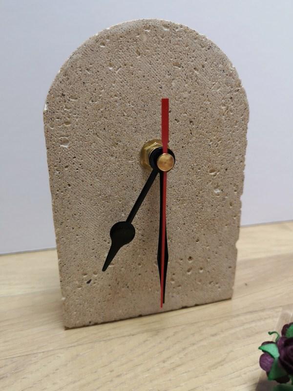 Concrete Mantelpiece Clock photo 1 black hands