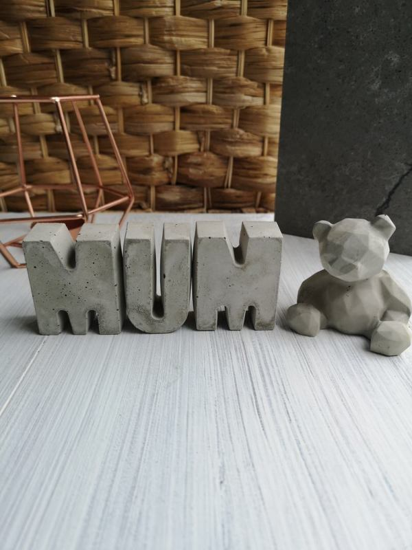 Concrete Mum Letters and Teddy Bear photo 1