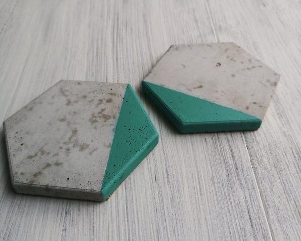 Green and Grey Hexagonal Coasters photo 3