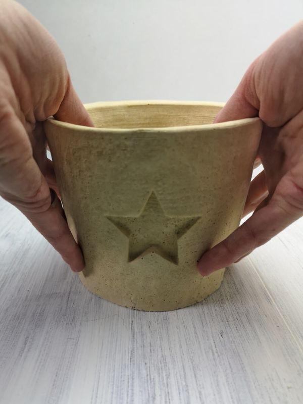star concrete planter photo 2 cream
