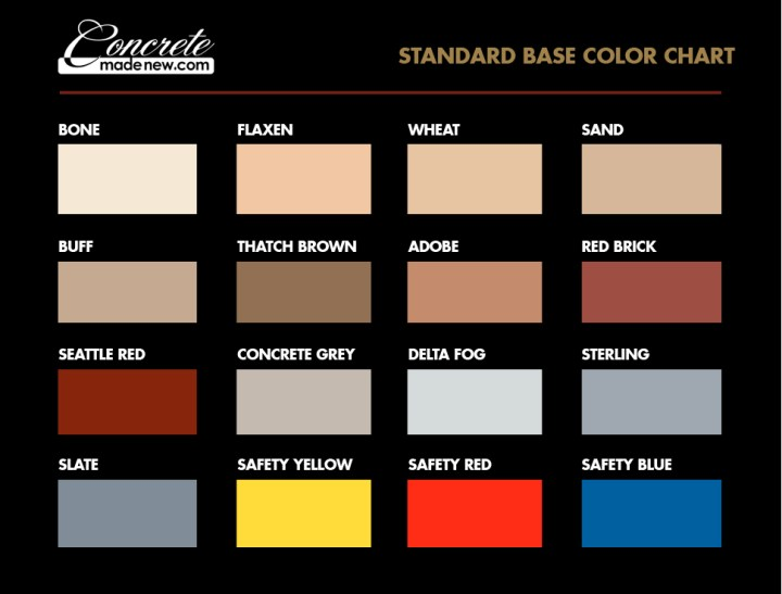 Standard Color Chart Concrete Made New