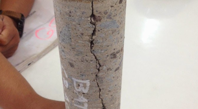 The 15″ deep concrete crack repair in Indonesia with Concrete Mender™.