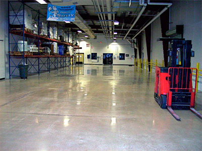 Polished warehouse floor repaired with Concrete Mender™.