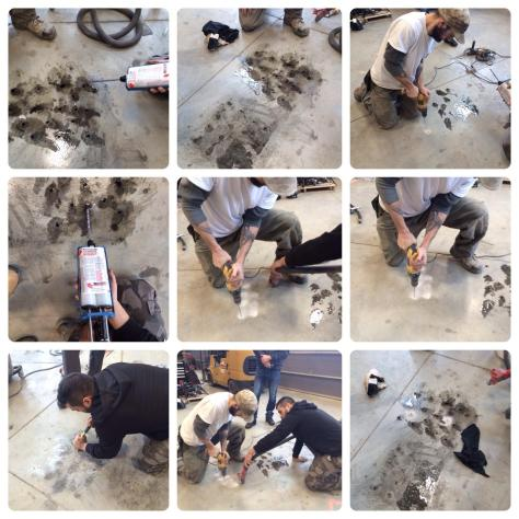 Concrete delamination repair project using Roadware 10 Minute Concrete Mender and the Roadware Easy Injection System.