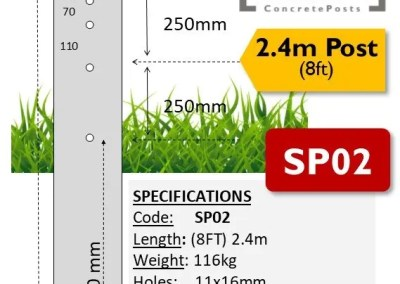 SP02 – 2.4m (8ft) Concrete Strainer Post