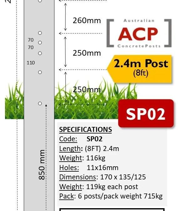 SP02 – 2.4m (8ft) Concrete Strainer Post