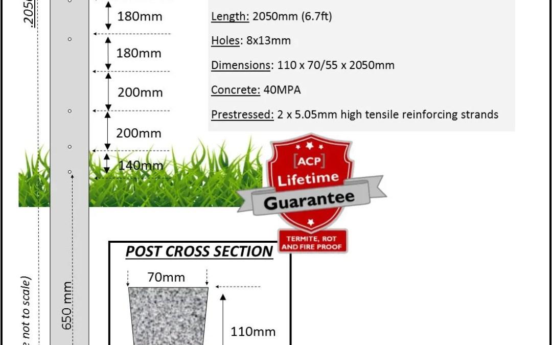 FP24 – 2.05m (6.7ft) Concrete Fence Post