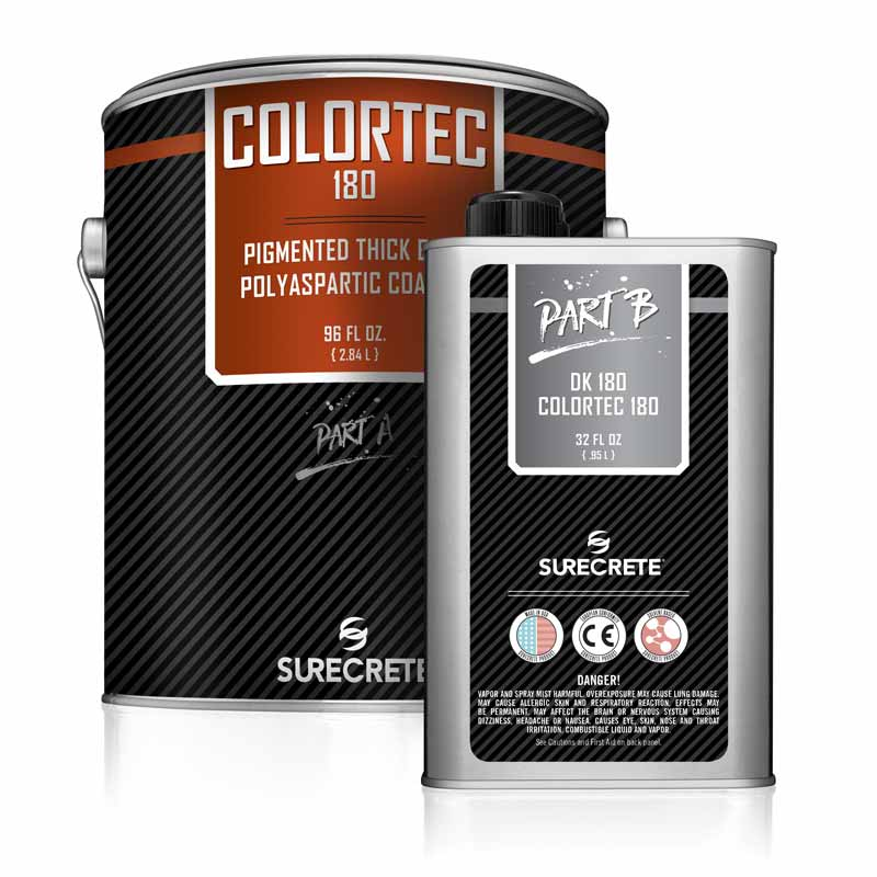 SureCrete ColorTec 180 Colored Polyaspartic Concrete Indoor Floor Paint. Fast dry concrete floor paint product in solid color. Quick dry concrete floor coating material in polyaspartic paint product. The best fast drying garage floor paint product.