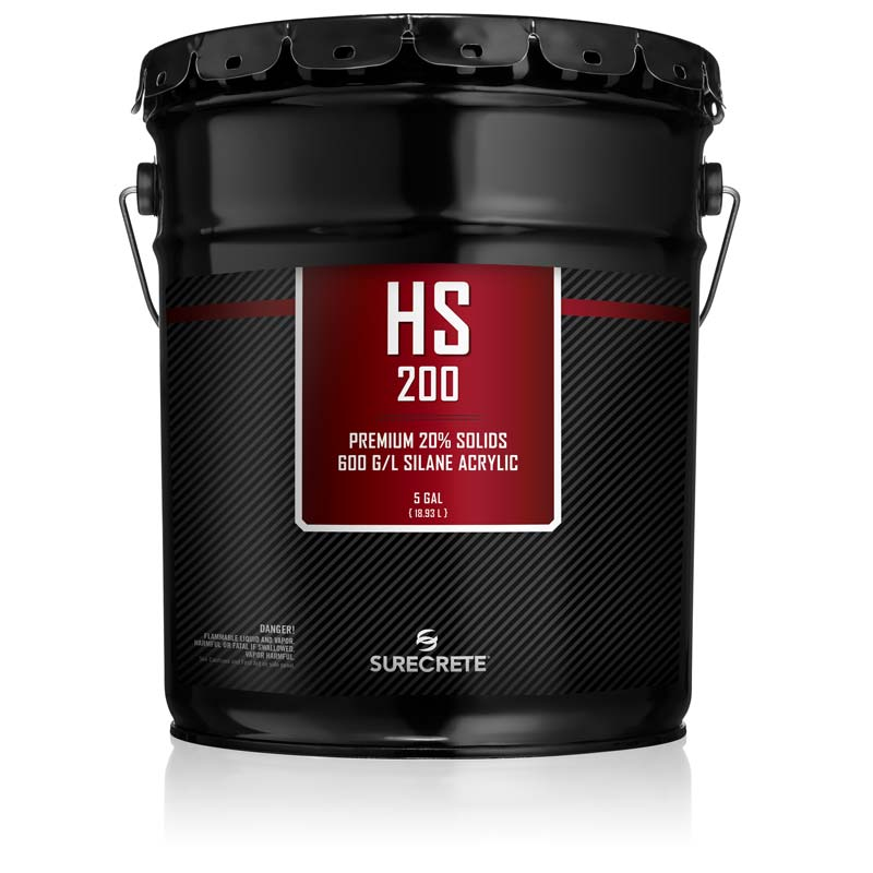 SureCrete HS200 Silane Acrylic Concrete Sealer for Outdoor Concrete. Performance clear acrylic concrete sealer for decorative concrete. Penetrating concrete sealer with silane solvent base for superior performance. Chemical reactive clear concrete protection sealer.