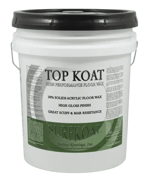 Surfkoat Top Koat Heavy Duty Acrylic Wax Floor Finish Gloss Satin Matte. Maximum strength decorative concrete floor finish material to protect interior decorative concrete floors. Acrylic wax floor finish product that reduces slip fall hazards and makes for safe concrete floor material products.
