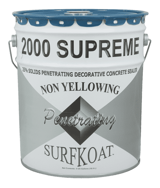 Surfkoat 2000 Supreme Acrylic Concrete Sealer Cure and Seal Clear Non Yellowing Stamped Concrete Sealer. High shine concrete sealer for stamped concrete. Concrete sealer with high gloss for textured concrete driveways.