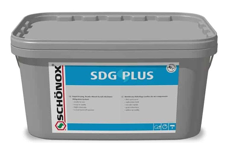 Schonox SDG Plus Acrylic Moisture Mitigation System for use under self-level underlayments. Single component fast drying concrete floor moisture mitigating system in easy to use acrylic formulation.