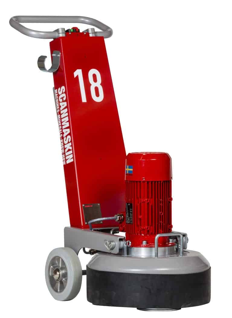 Scanmaskin 18 Concrete Grinder sized for garages and smaller projects affordable concrete grinder that weighs about 200 pounds