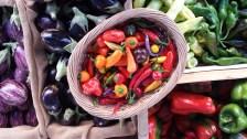 """Setembre CROMOTERÀPIA A la parada del mercat de productes bio destaca l'alegria i varietat dels colors que presenten les diverses varietats d'albergínies, així com de pebrots i """"xiles"""" picants. Autor/a: Elisabet Amer Operador/a inscrit: CT/3192/P Sara Camps Fernández Lloc: Empúriabrava (Alt Empordà)"""