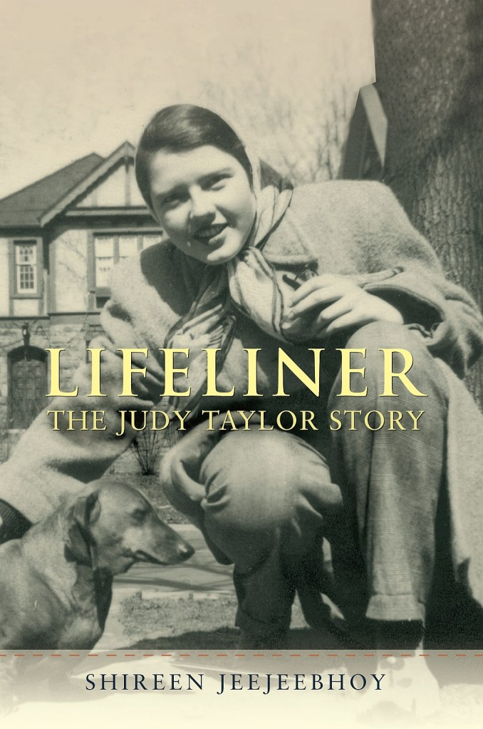 Lifeliner cover in sepia tones with young Judy Taylor and Dachshund. Shireen Jeejeebhoy at bottom in a banner.