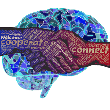 Handshake with words over blue abstract brain