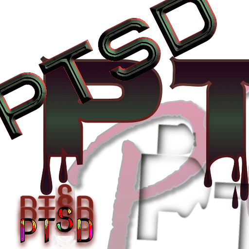 PTSD text written out in different letters and reds and blacks