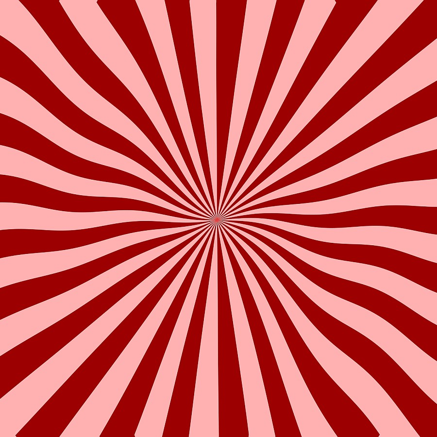 Red and pink wavy lines from out of the centre in a dizzying optical illusion