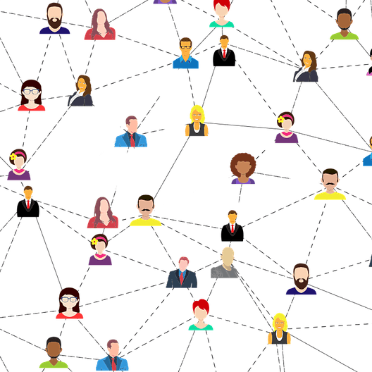 Graphic showing relationships between men and women with the lines erased around one man and one woman.