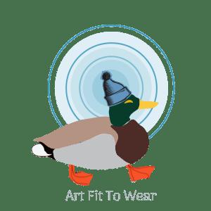 Art Fit To Wear of my mascot graphic. Mallard duck wearing a blue toque against blue circles. Duck has bright orange feet.