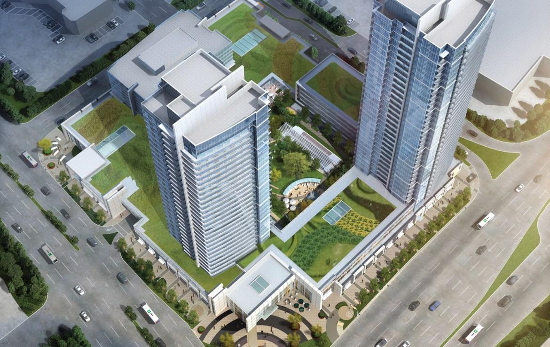Centro Square Condos Aerial View Toronto, Canada
