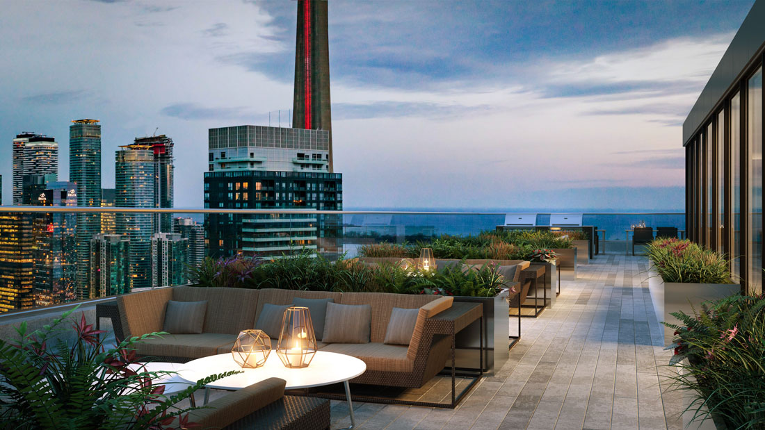 Rendering of 411 King Condos rooftop terrace.