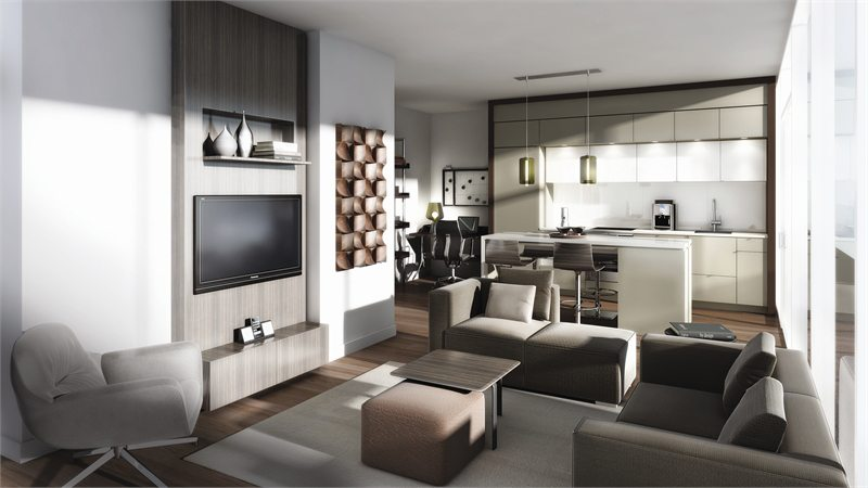 Karma Condos Living Room Toronto, Canada