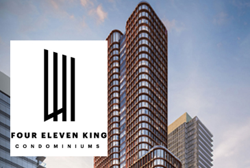 Exterior rendering of Four Eleven King Condos with logo overlay.