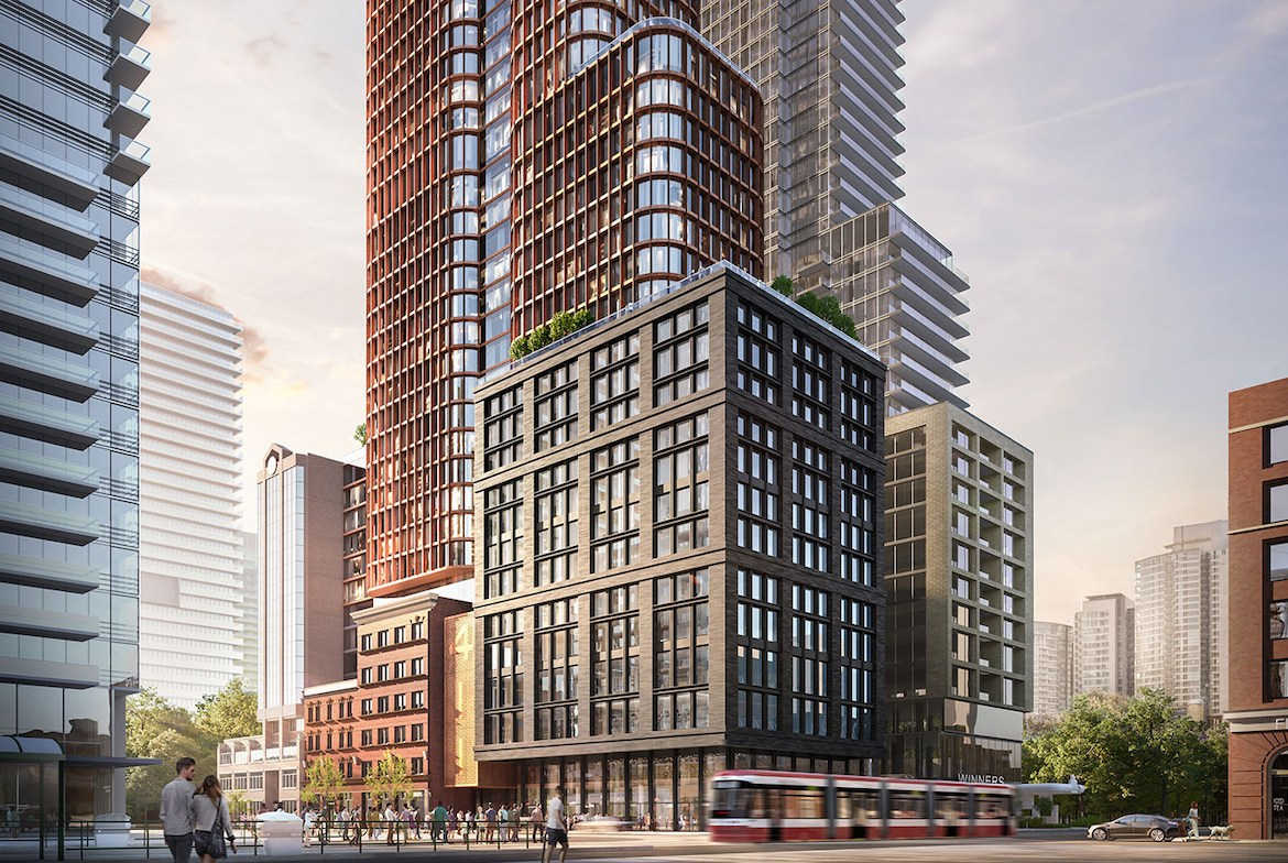 Exterior rendering of Four Eleven King Condos bottom half.