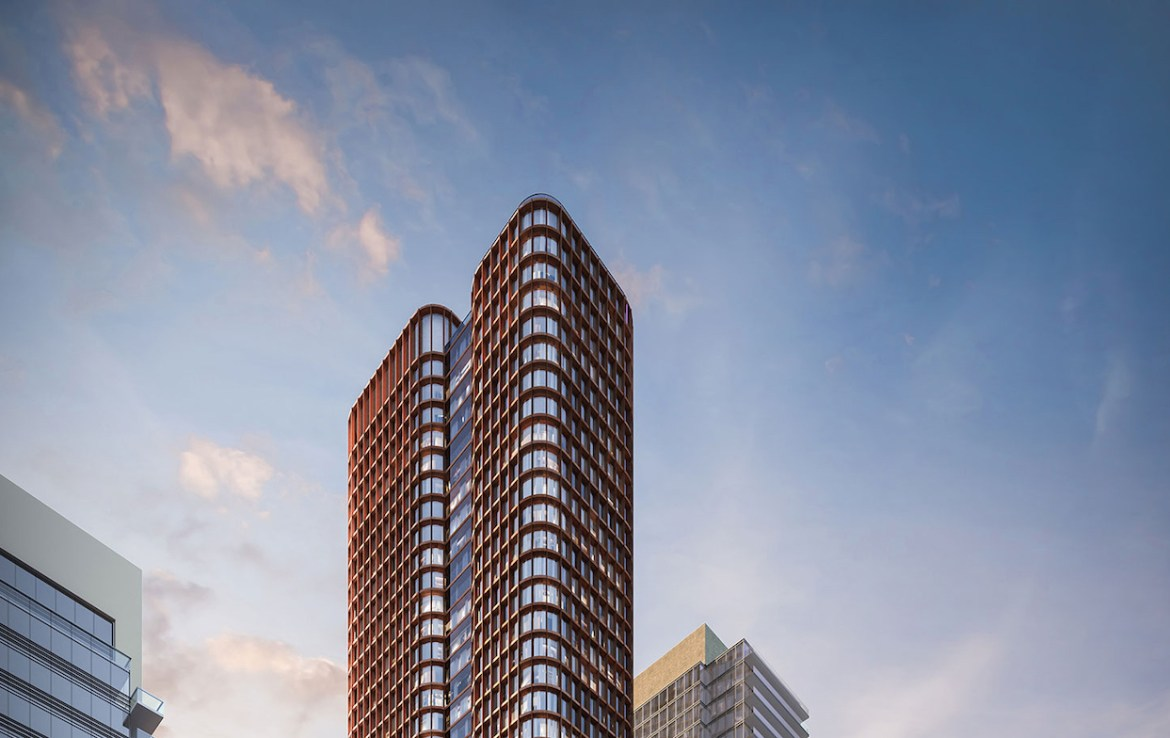 Exterior rendering of Four Eleven King Condos top half.