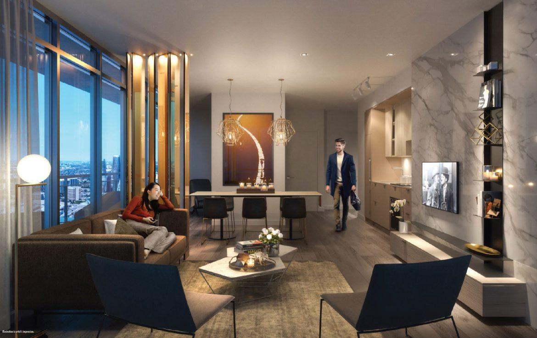 M City Condos Living Area Toronto, Canada