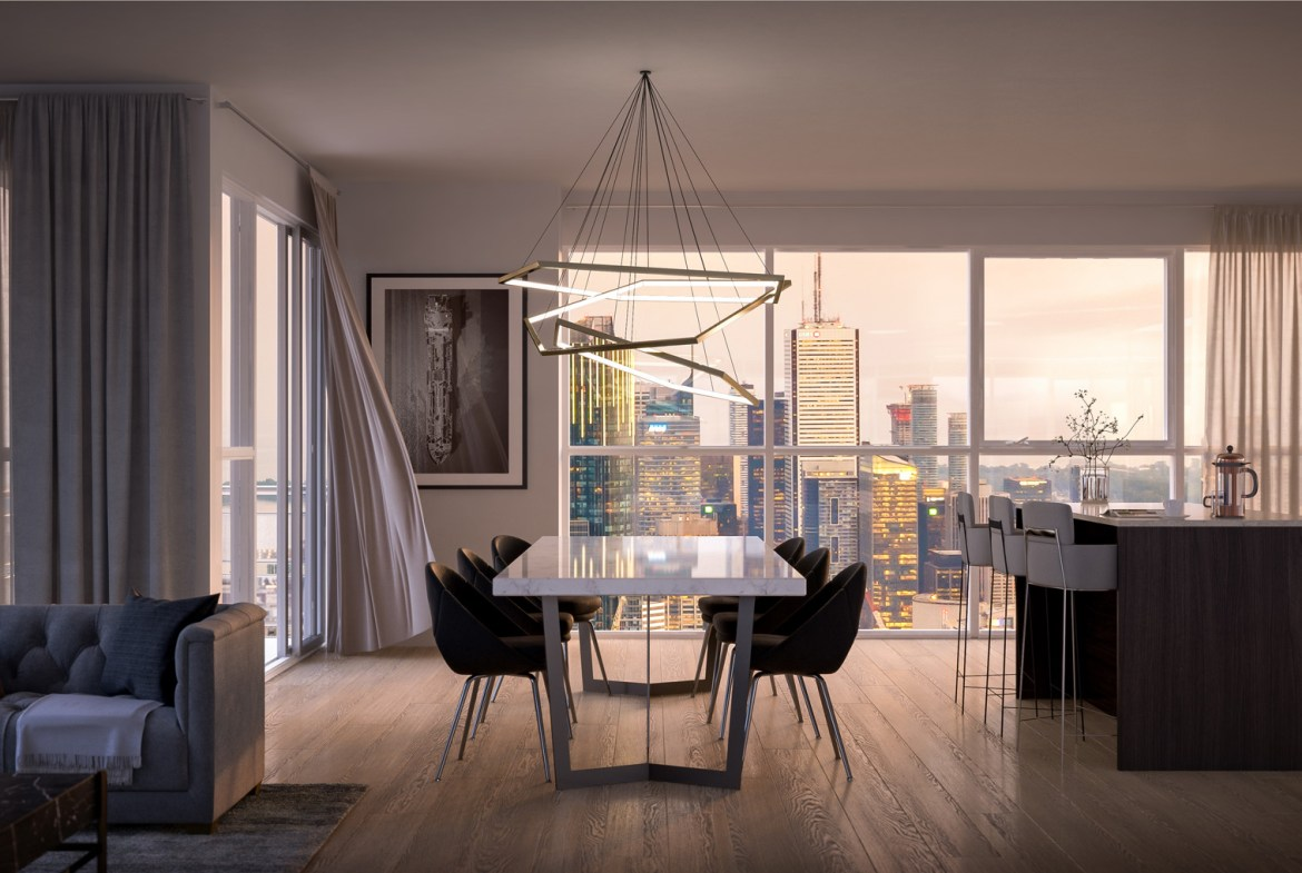 Rendering of 8 Cumberland Condos suite interior living room.