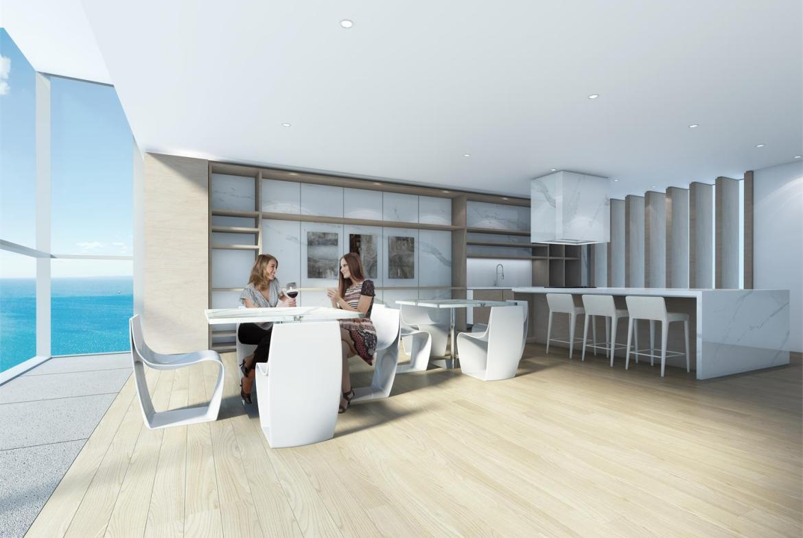 Rendering of Nautique Lakefront Residences event kitchen