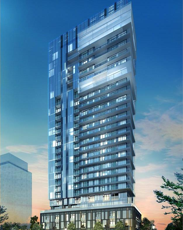Rendering of Nautique Lakefront Residences exterior at dusk