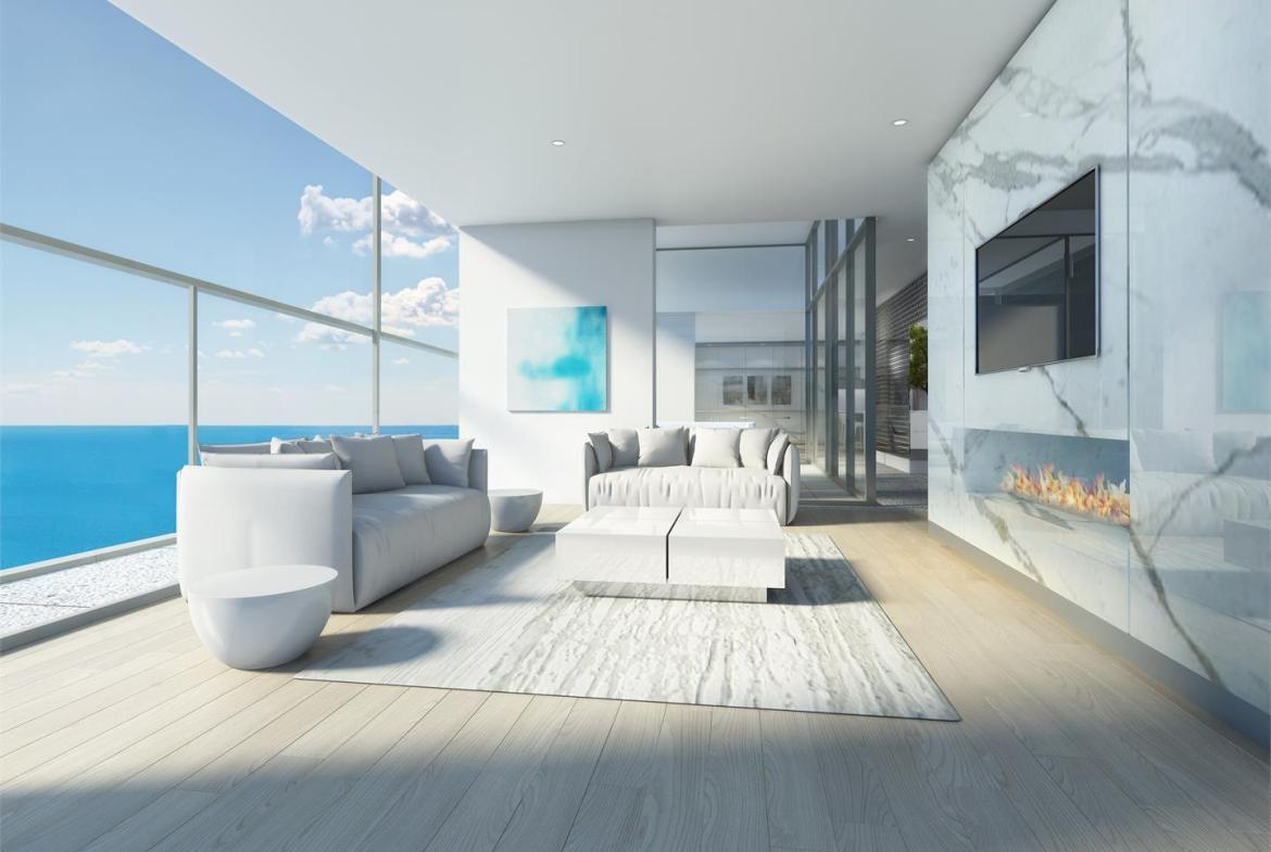 Rendering of Nautique Lakefront Residences fireplace lounge
