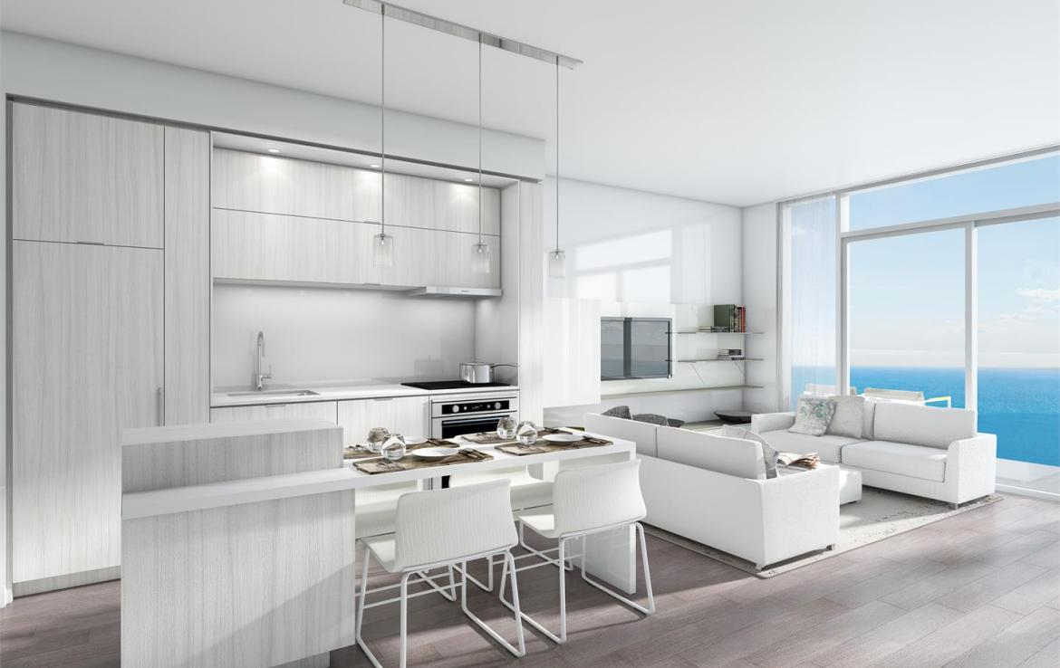 Rendering of Nautique Lakefront Residences 1-bedroom suite kitchen