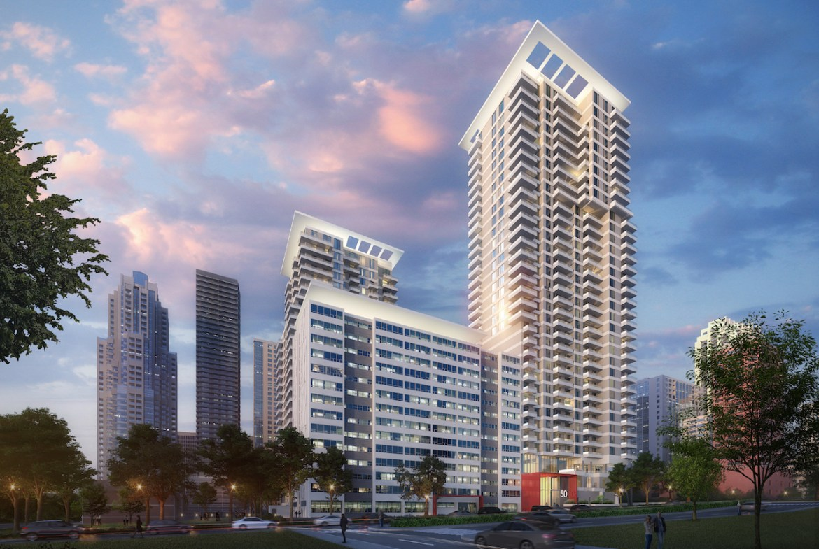 Rendering of Plaza Midtown Condos exterior in the evening.