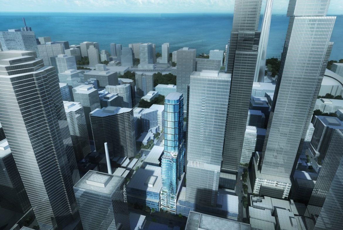 217 Adelaide West rendering of building exterior and surrounding city buildings.