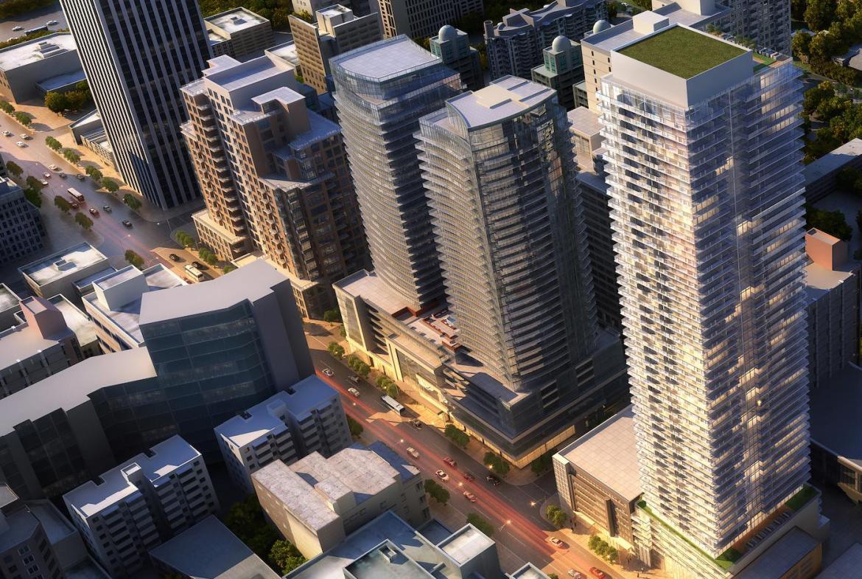 55 Eglinton Avenue East Condos Aerial View Toronto, Canada