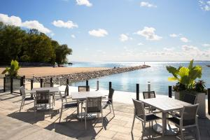 Friday Harbour Resort Condos and Towns beach club patio