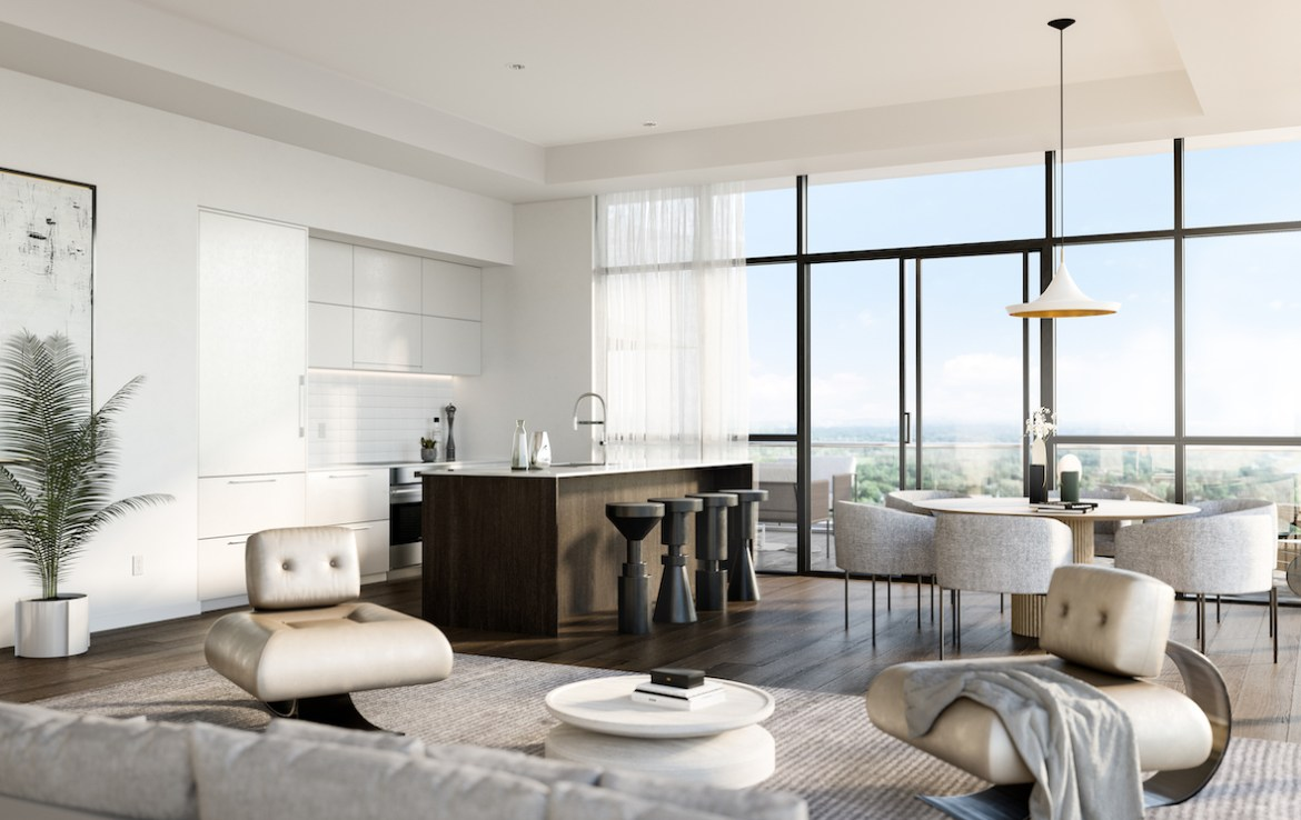 Rendering of Upper East Village the The Leaside Collection suite kitchen.
