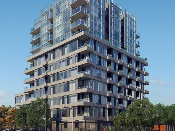 The Cardiff condos rendering of the building exterior during day