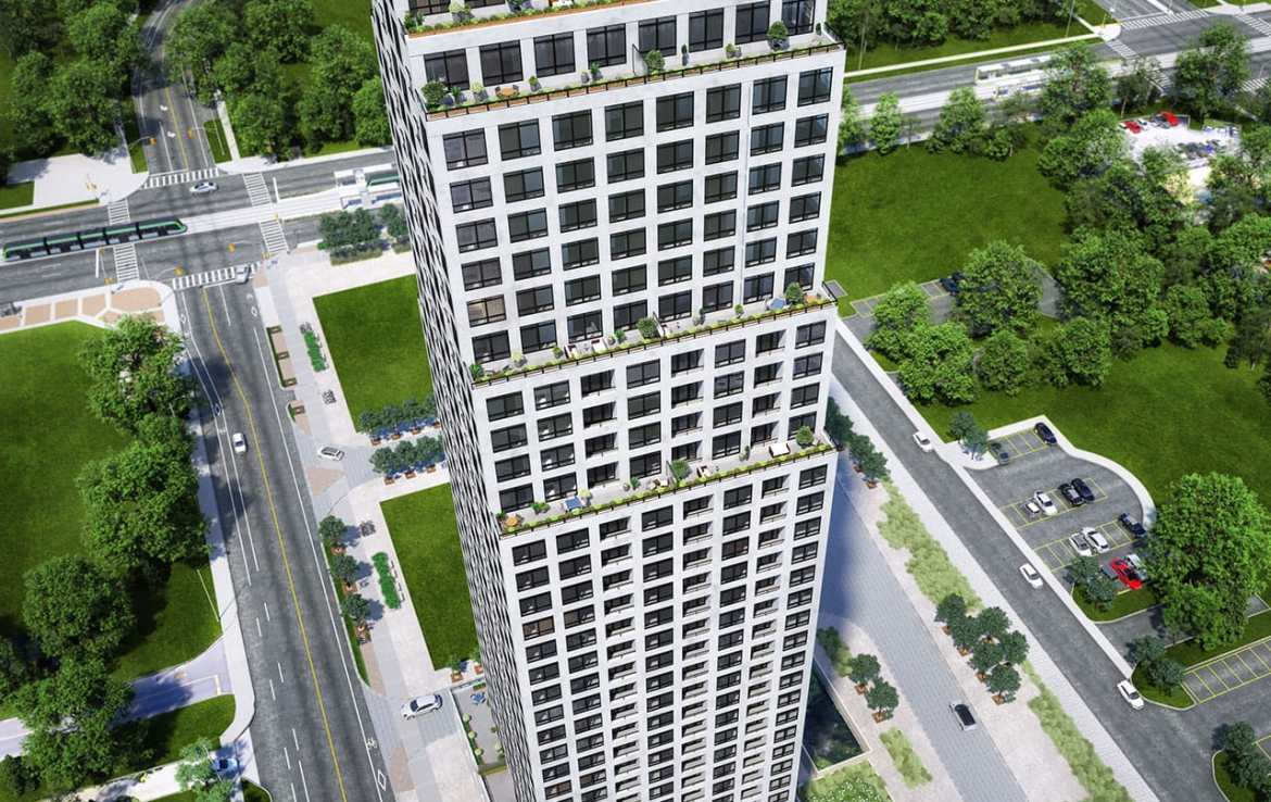 Rendering of Edge Towers building exterior from above.