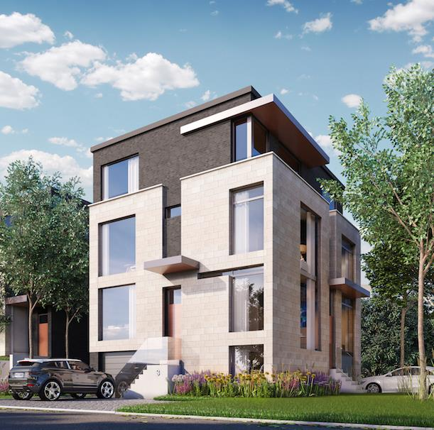 Rendering of The Vince townhouses in Toronto.