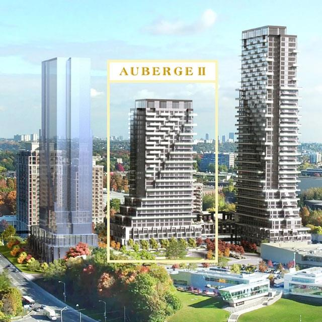 Rendering of Auberge On The Park development exteriors.
