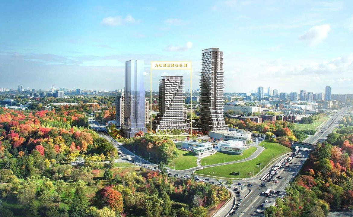 Rendering of Auberge On The Park development exteriors and surrounding area.