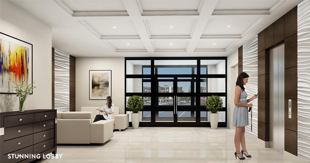 Rendering of Platinum Condos interior lobby.