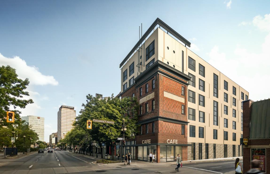 Rendering of Red Brick Lofts building exterior in Hamilton