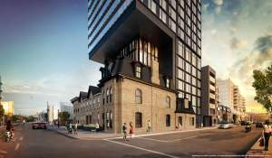 Rendering of The Garden District Condos exterior at main intersection