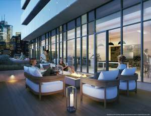 Rendering of The Garden District Condos exterior terrace with seating
